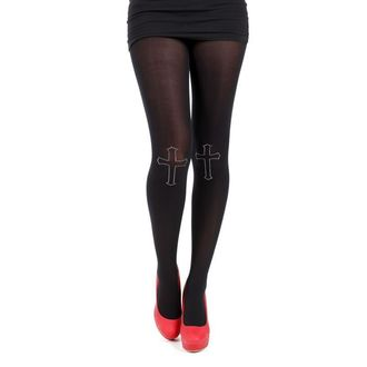 rajstopy PAMELA MANN - 80 Denier Tights With Cross On Knee-Black - 013