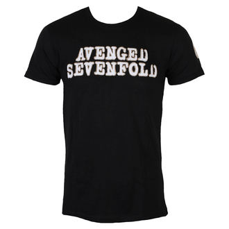 koszulka męskie Avenged Sevenfold - Logo & Deathbat Applique - Black - ROCK OFF, ROCK OFF, Avenged Sevenfold