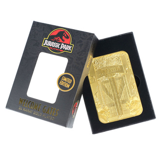 dekoracja Jurassic park - Card Metal Entrance Gates - gold plated, NNM, Jurassic Park