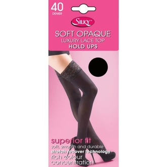 rajstopy LEGWEAR - 40 denier opaque lace top hold ups - black - ED023